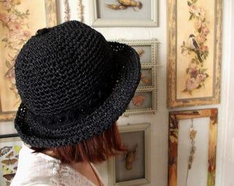 Black raffia hat ...Handmade crochet raffia spring garden floppy hat, beach hat, womens sun hat, derby hat, bucket hat, brim hat.