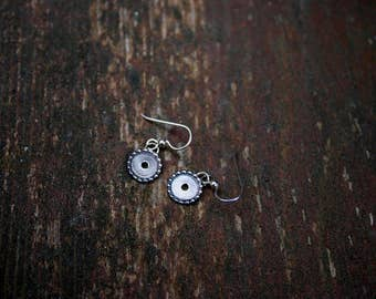 Filled Dotted Circle Earrings // Sterling Silver