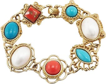 Unworn Vintage Sarah Coventry Bracelet With Faux Turquoise, Coral, Pearl