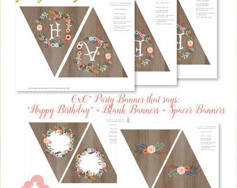happy birthday party banner, happy birthday party banners, vintage happy birthday, birthday banners, wreath party banner, floral, wood, W1