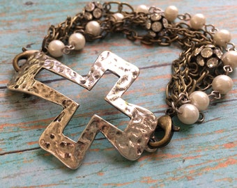 Mixed metal cross bracelet, chunky cross, cross bracelet, cross connector, pearl beads, mixed chain, silver and gold, multi-chain bracelet