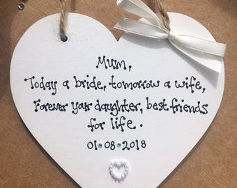 Personalised Mother of the Bride Gift Plaque Gift Wedding Mother Mum heart