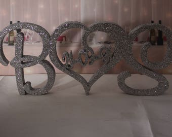 Wooden FreeStanding Plaques Personalised Initials & sweetheart Wedding glittered custom made