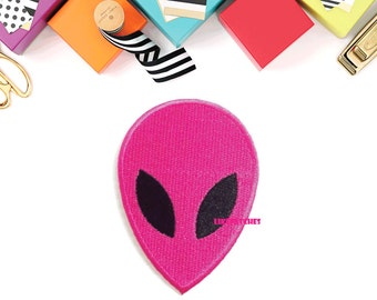 Pink Color Face Alien New Sew / Iron On Patch Embroidered Applique Size 5.5cm.x7.7cm.
