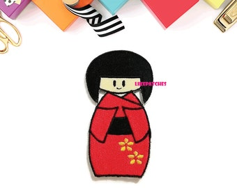 Cute Red Japanese Doll New Sew / Iron On Patch Embroidered Applique Size 4.6cm.x8.5cm.