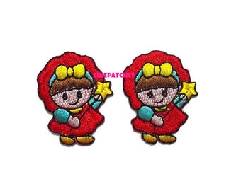 Set 2pcs. Cute Girl Angel Red Dress - Doll Cartoon Print New Sew / Iron On Patch Embroidered Applique Size 3.2cm.3.9cm.
