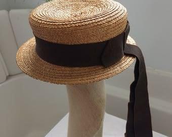 Straw Victorian Sailor Slide Hat