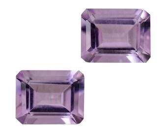 Pink Amethyst Octagon Cut Set of 2 Loose Gemstones 1A Quality 9x7mm TGW 3.65 cts.