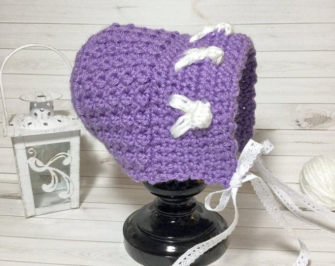 Baby's First Easter Bonnet in Lavender, Crochet Purple Bonnet with Bunnies and White Ribbon, Crochet Easter Bonnet by LoopyChicCrochet