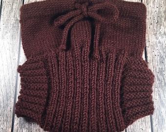 Custom Wool Soaker - Hand Knit Wool Soaker - Wool Diaper Cover - Diaper Cover - Brown Wool Diaper Cover