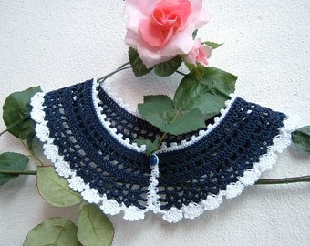 Cotton crochet collar blue and white-collar retro chic Victorian-Crochet fashion women-vintage Look
