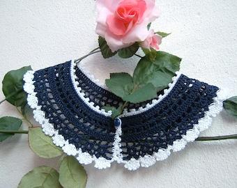 Blue and white crochet cotton collar-retro chic Victorian collar-women's fashion crochet-vintage Look