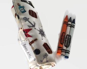 Crayon Roll, Pirate, Crayon Holder, Crayon Wrap, pen roll, Toddler Gift, crayon storage,back to school, preschool colouring, pencil roll