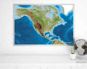 Topographic Map Of North America 36x24 Printable Map Printable Physical Map Of Us