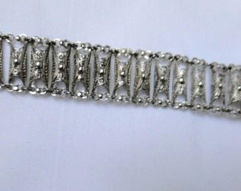 Antique 20th Cenury Silver Filagree Bracelet, 800 Silver, European Bracelet