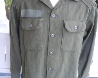 Size XL (50) ** Cool 1970s Cold Weather Heavy Wool Flannel Military Shirt