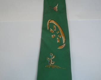 Coll 1940s to Early 50s Hand Pianted Western Rayon Tie