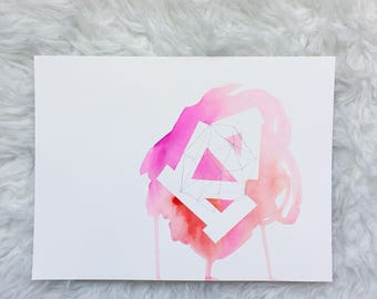 pink, red, orange triangles ABSTRACT watercolor painting
