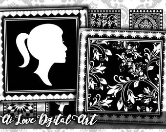 Black and White, digital download cabochon 1.5 inch, 1 inch square, digital collage sheet printable images, instant download jewelry making