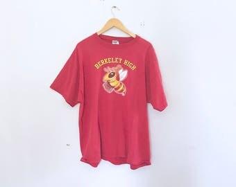 90's graphic t shirt, berkeley high, red box cut t shirt, size xl