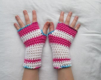 Fiver Friday 4-7y kids armwarmers, pink and white striped, girls arm warmers, child wrist warmers, kids fingerless gloves, fingerless gloves