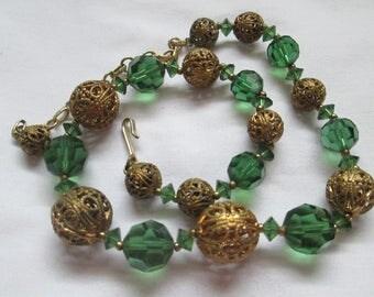 Brass Filigree Green Crystal Bead Necklace