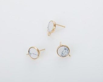 10mm Howlite Flat Round Post Earring(Ring Crossed), , White Marble Flat Round Earring Polished Gold Plated - 2 Pieces [G0156E-PGWH]