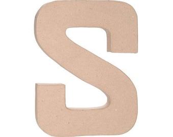 Paper Mache Letter -S - 12 inches,Unfinished Mache, Embellishment Letter,Cardboard letter, Alphabet Décor