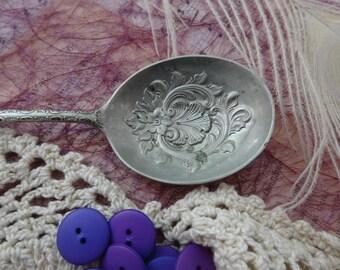 Antique Nickel Silver Spoon, Food Photography Prop,