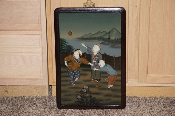 Vintage Chinese Reverse Painting on Glass Children Playing Ball