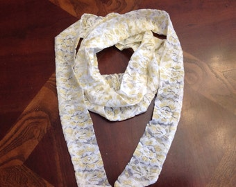 White lace scarf, Gold on white lace Long scarf, Delicate Lace scarf, Long Bling Lace Neck Bow Tie Scarf 83x2 long Narrow scarf Made in USA
