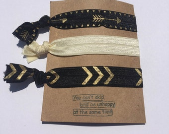 Follow Your Arrow! Hair Ties (Set of 3) Black and Gold