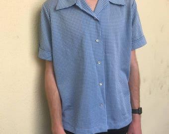 Vintage 1960s Baby Blue Gingham Shirt