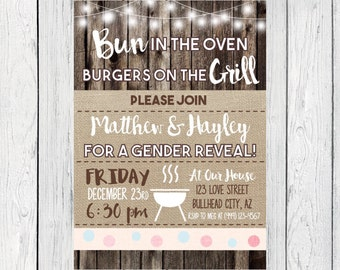 BBQ - Gender Reveal Invite- Bun in the Over, Burgers on the Grill - Wood & Burlap***Digital File*** (Gender-17Wood)