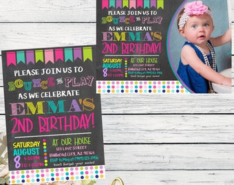 Bounce Party: Chalkboard Personalized birthday invitation- ***Digital File*** (BOUNCE-PlayBuntingPic)