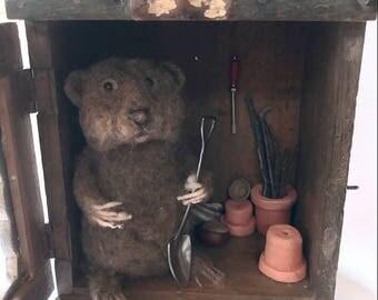Needle felted sculpture Gardening vole