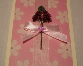Pink flowery card with ribbon greeting card Birthday card Card for anniversary Card for any occasion