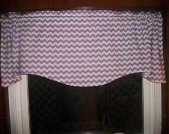 Purple Lavender Chevron Zig Zag Stripes bedroom fabric curtain topper Valance