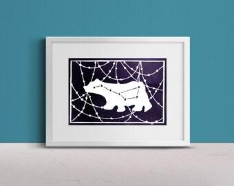 Papercut Bear and Stars