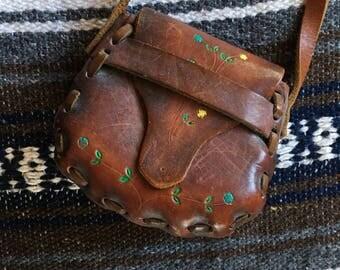 Vintage 1970s Leather Purse/Handbag for Child/Girl/Kid; Brown Tooled Bag with Strap