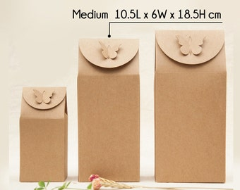 30 Kraft Paper Bag Boxes with Butterfly - medium - Party Wedding Favors - for Handmade Gifts Packaging