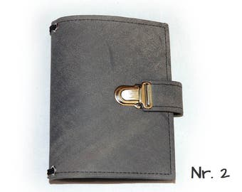 A6 travelers notebook with folder lock in nubuck leather