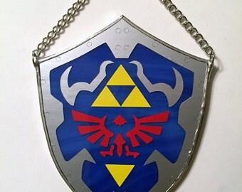 Handmade Stained Glass Legend of Zelda Hylian Shield Suncatcher