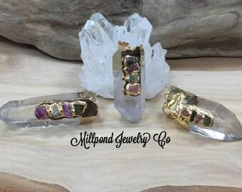 Clear Quartz Pendant, Clear Quartz Stone Pendant, Gold Plated Clear Quartz, Stone Pendant, Clear Pendant