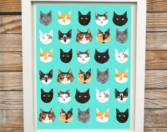 All The Cats | A3 Digital Cat Print