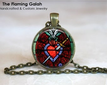 SACRED HEART Pendant • Church Window Style • Stained Glass Inspired • Religious Jewelry • Gift Under 20 • Made in Australia (P1310)