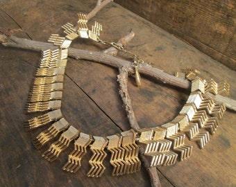 Rare Vintage Gold Tone Coro Aztec Modernist Necklace