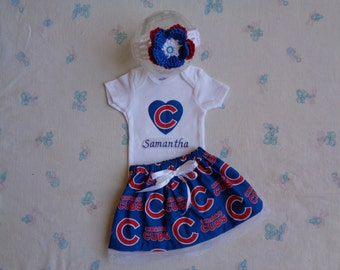 Chicago Cubs Personalized Baby Girl Onesie, Skirt and Headband
