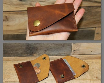 Leather Coin Pouch Purse, Leather Minimalist Wallet, Small wallet, Leather Snap Pouch, Marbled Pull Up Leather, Made in the USA