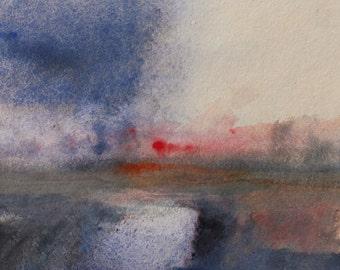 DAWN WARWICKSHIRE FIELDS, 2016. Original Watercolour Landscape Painting. Framed.